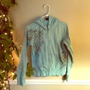 Lucky Brand embroidered full zip hoodie